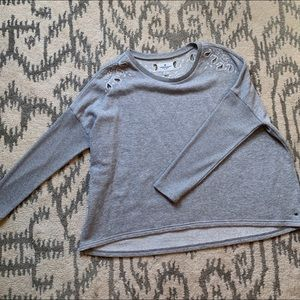 American Eagle • Grey Paisley Cut Out Pull Over